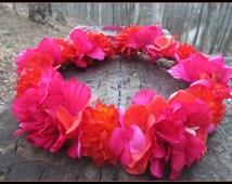 hawaiian flower crown, flower crown, tropical flower crown, hawaiian tropic, boho wedding, polynesian, luau, resort wear, honeymoon,