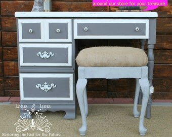 SOLD!-Primula Custom Painted Vintage Desk, Grey & White