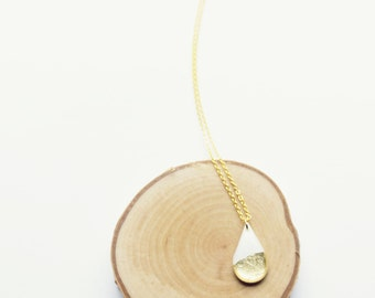 dainty drop necklace white and gold layering necklace mother's day gift modern pendant necklace gift idea for her simple gold pendant