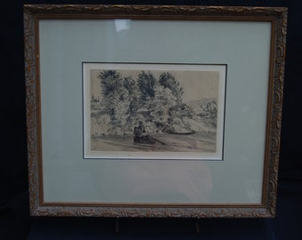 Village by the Water by Felix Bracquemond  (1833-1914) in Antique Frame and Authenticated Etching