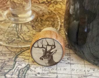 ON SALE Deer Wine Stopper, Handmade Wildlife Wood Cork, Great Outdoors Bottle Stopper, Woodland Design on Wood Top Cork Stopper, Deer Antler
