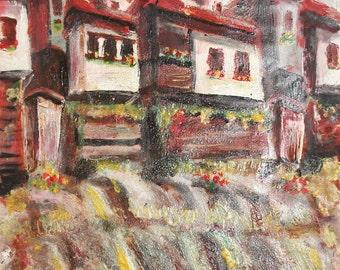 Vintage impressionist cityscape oil painting village