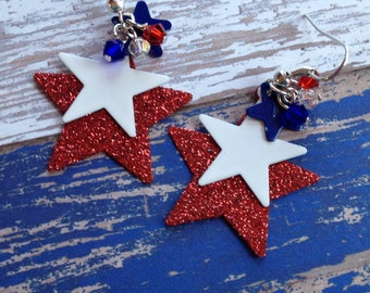 Patriotic Earrings, 4th of July Earrings, Red, White and Blue Star Earrings, Jewelry, Summer Jewelry