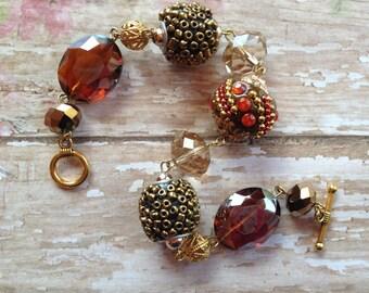 Brown Beaded Bracelet, Glass Beaded Bracelet, Brown Bracelet, Gift For Her, Beaded Bracelet