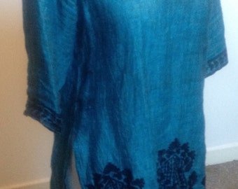 vintage indian, embroidered, tunic top size 10 (uk)