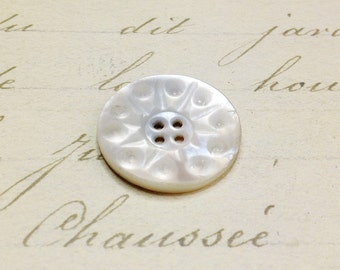 Medium MOP Antique 4 hole Carved Shell button 23 mm