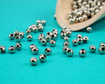 4mm smooth round antique silver plated beads w/1.5mm hole,silver spacer beads, 4mm round silver beads, round spacer beads,4mm spacer(2793bm)