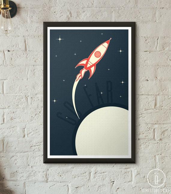 Retro rocket spaceship art print boys room girls room decor for Vintage outer space decor