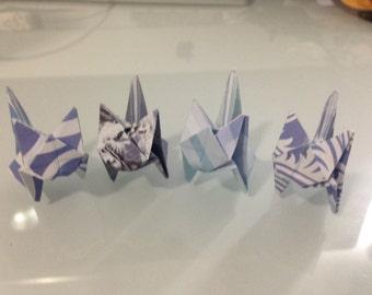 Miniature Blue Origami Cats