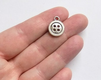 10 Button Charms - Antique Silver - Button Shape Charms - #S0205