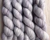 Silver Cloud Posh Lace with Free Sakura Stole Pattern: hand-dyed 70/20/10 Baby Alpaca Silk Cashmere Yarn