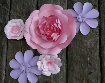 5 Giant Paper Flowers 20 - 40cm diameters in pink and pale purple for wedding decor or photo booth backdrop.  In stock now. 706-061