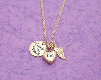 Gold Memorial Pendant with Angel Wing - Cremation Jewelry - Engraved Jewelry - Urn Necklace - Pet Memorial - Ash Necklace