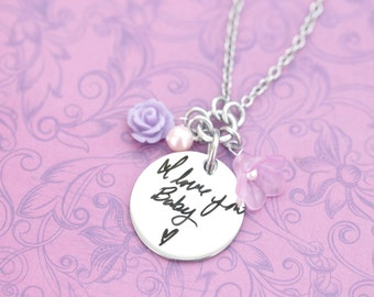 Actual Handwriting Pendant - Couple's Gifts - Valentine's Day - Cluster Necklace - Keepsake - Heirloom