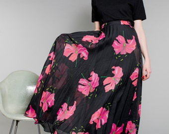 Vintage High Waist Sheer Chiffon FLORAL PRINT Finely PLEATED Maxi Skirt