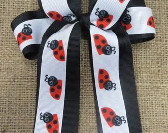 Lady Bug Four Loops Tails Down Hair Bow, Ladybug Cheer Bow