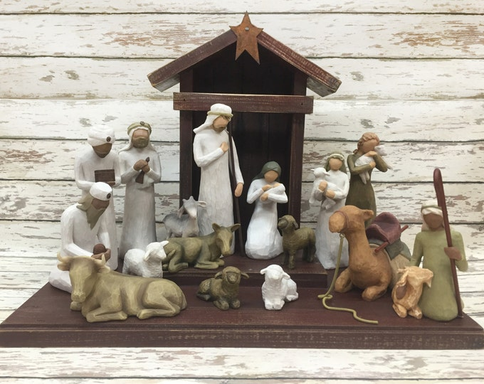 STABLE CRECHE for Demdaco Willow Tree Angels Nativity, Distressed Wood, Christmas Decor, Burgundy Green White Manger Stables fits Angel