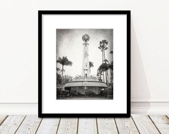 Los Angeles Photography, Black and White, Hollywood, Crossroads of the World, Sunset Boulevard, California, Fine Art Print, Retro