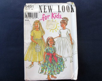 1990s Girls Flared Dress Uncut Vintage Pattern, New Look for Kids 6491, Size 3, 4, 5, 6, 7, 8