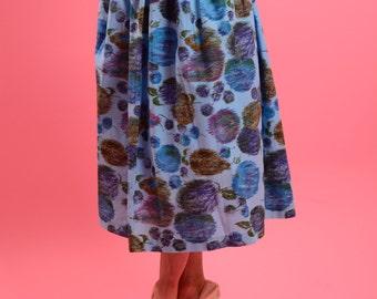 DEADSTOCK 1950's novelty print fruit skirt with apples, grapes and pears • Fruit skirt • Vintage Novelty Skirt