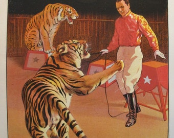 1900s French Vintage Circus Poster - Cirque Pinder Tiger Tamer, G. Soury