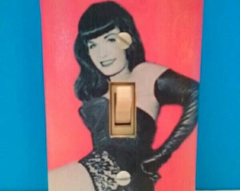 Awesome Bettie Page Decoupaged Light Switchplate Cover, Handmade, Wall Art, PinUp, Retro, Vintage, Bettie Page, Made By Mod.