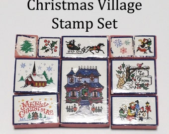 Christmas Stamp Set: 10 Christmas Rubber Stamps - Christmas Village Stamps - Christmas Stamps - Used Stamp Set - Scrapbooking Stamps