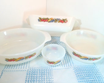 Vintage Fire King Fruit, Nature's Bounty, Fruit Pattern, Bakeware, Set of 4 Loaf,Custard, Casserole, Mid Century, Anchor Hocking Milk Glass