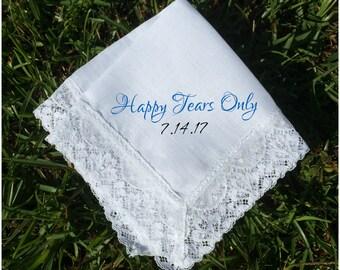 Happy Tears handkerchief, wedding favors,  PRINTED lace handkerchief, wedding gift ideas wedding gifts, funny wedding hanky, wedding (H 019)