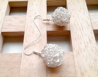 Gorgeous Hooked on Handmade Sliver Hooked Snowball Earrings