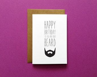 items similar to beard card  man bun  funny boyfriend birthday, Birthday card