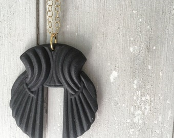 Minimalist Black Porcelain Necklace