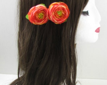 2 x Coral Orange Ranunculus Tea Rose Flower Hair Clips Small Bridesmaid Vtg X-26