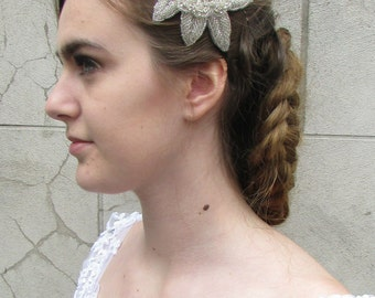 Silver Bead Diamante Flower Headpiece Headband Vintage Bridal 1920s Flapper Q84