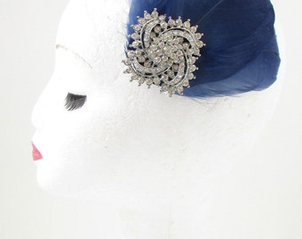 Navy Blue Silver Rhinestone Feather Fascinator Hair Clip Bridal Vtg 1920s 7AZ