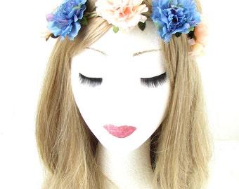 Peach Pink Blue Carnation Flower Hair Crown Headband Garland Elastic Stretch 587