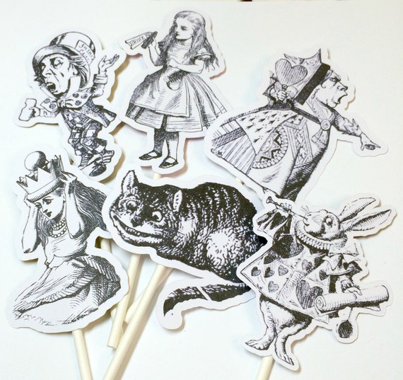 Cupcake Toppers - Alice in Wonderland Party,Food Picks,Alice Birthday Party Decorations,Alice Party,Alice in Wonderland,Alice Baby Shower