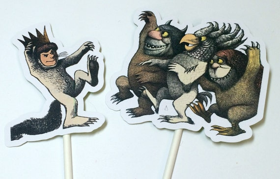 Cupcake Toppers - Where the Wild Things Are,Food Picks,Birthday Party Decorations,Wild Things Party,Wild Rumpus Party,Wild Thing Baby Shower