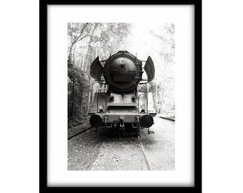 train engine, black and white photography, black and white train photography, train photography, large wall art, black and white wall art