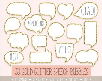 60% OFF SALE. Gold Glitter Speech Bubble Clipart. Gold Glitter Frames, Label and Tags. Hand Drawn Thought Bubbles. White Labels, Borders.