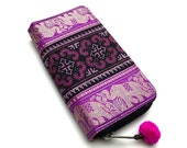 Womens Magenta Wallet, Ethnic Embroidery Zipper Wallet, Tribal Elephant Print Long Wallet Clutch, Traditional Hmong Wallet, fit an iPhone 6