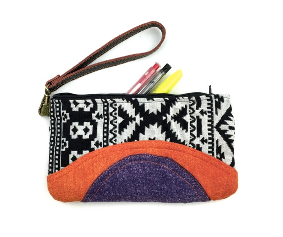Wristlet Pouch, Cute pencil case, makeup purse bag, Cosmetic bag, Stylish accessory bag, Iphone 6 wallet wristlet, Tribal Aztec Pencil Pouch