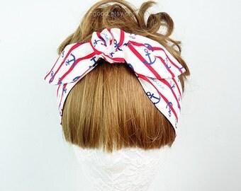 Anchor headband, Hair Wrap, workout headband, Women's headband, Twist turban, knot headband, yoga headband