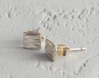 Hammered small square stud earrings, sterling silver. Everyday wear, gift, present. valentines gift