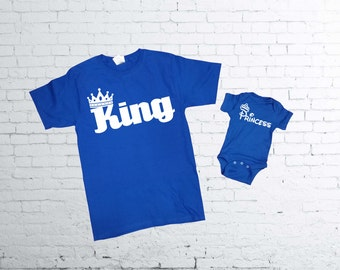 King and Princess T-shirt.King T-shirt. Princess baby body suit. Father and Son T-shirts.