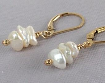 Keshi Pearl Earrings - Pearl Earrings - Freshwater Pearl Earrings - Wedding Earrings - Available in Gold, Silver and Rose Gold