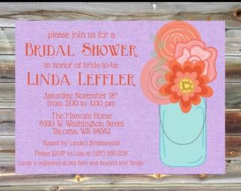 Canning Jar Floral Bridal Shower Invite - Flower Spring Bright Bridal Shower - Pink and Purple Bridal Shower Invite