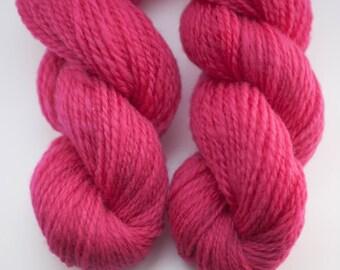 Handspun Corriedale Yarn in Fuchsia/Pink - 2 ply