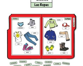 Learning Spanish File Folder Game - Clothes/Las Ropas