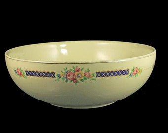 Salad Serving Bowl, Halls Kitchenware, Blue Bouquet Platinum, Made in the USA, Light Yellow